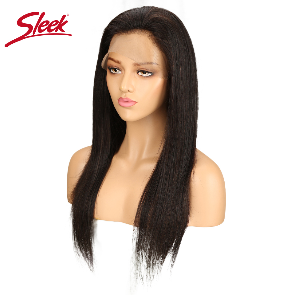 Sleek 360 Frontal Peruvian Human Remy Hair Wigs Straight Wigs With Baby Hair For Black W ...