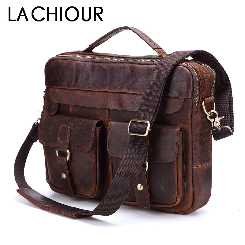 Lachiour Genuine Leather Men Handbags Crossbody Bags Casual Totes Leather Messenger Laptop Bag Shoulder Bags Male Briefcases все цены