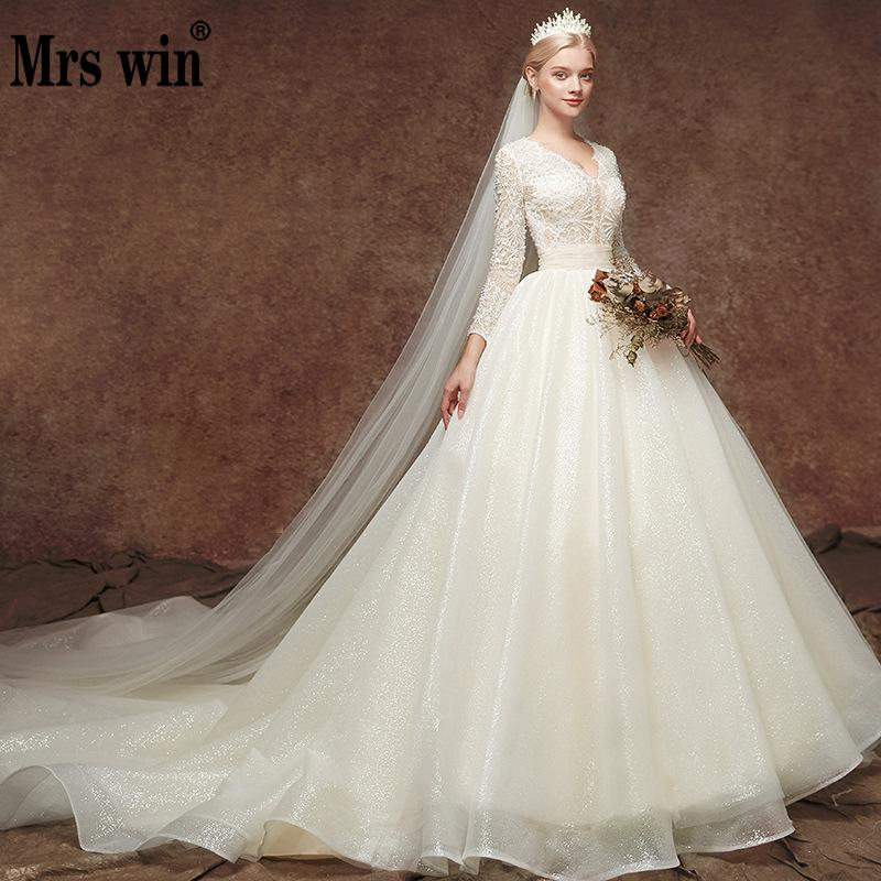 Robe De Mariee Grande Taille Mrs Win 2020 New Full Sleeve Sexy Deep V-neck Princess Luxury Wedding Dresses Vestido De Novias F