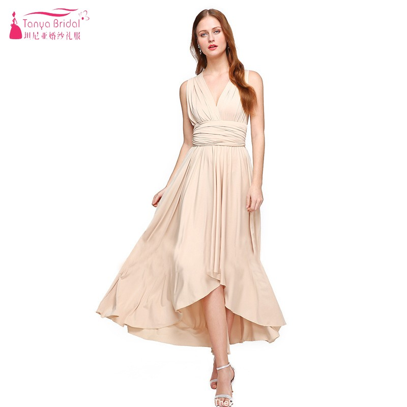 Variety Of Wearing   Bridesmaid     Dress   Champagne Bandage   Dress   Simple Style Bridemaids Gown DQG534