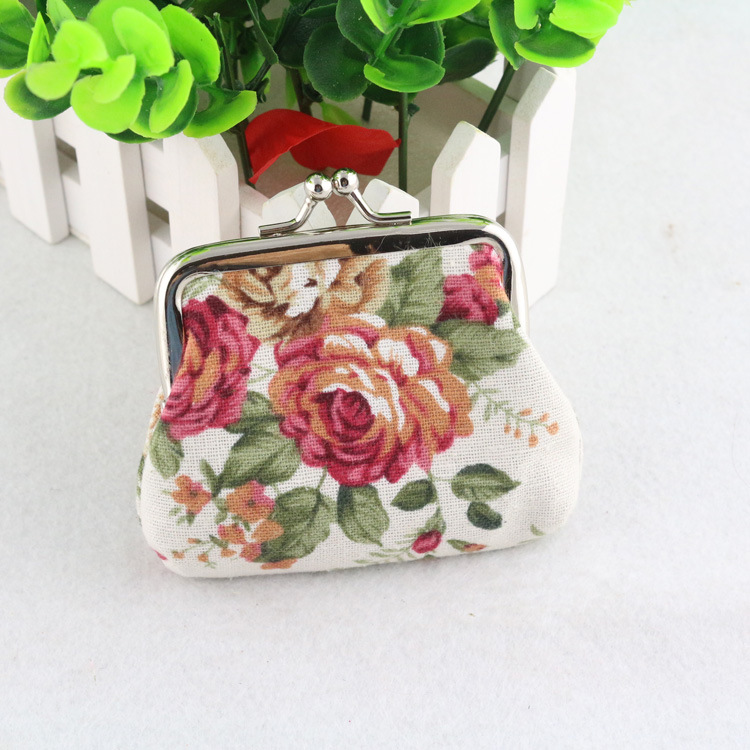 BONAMIE Multicolor Women Canvas Rose Mini Coin Purse Female Cloth Buckle Coin Bag Cute Little Wallet Key Bag Candy Bag Wholesale