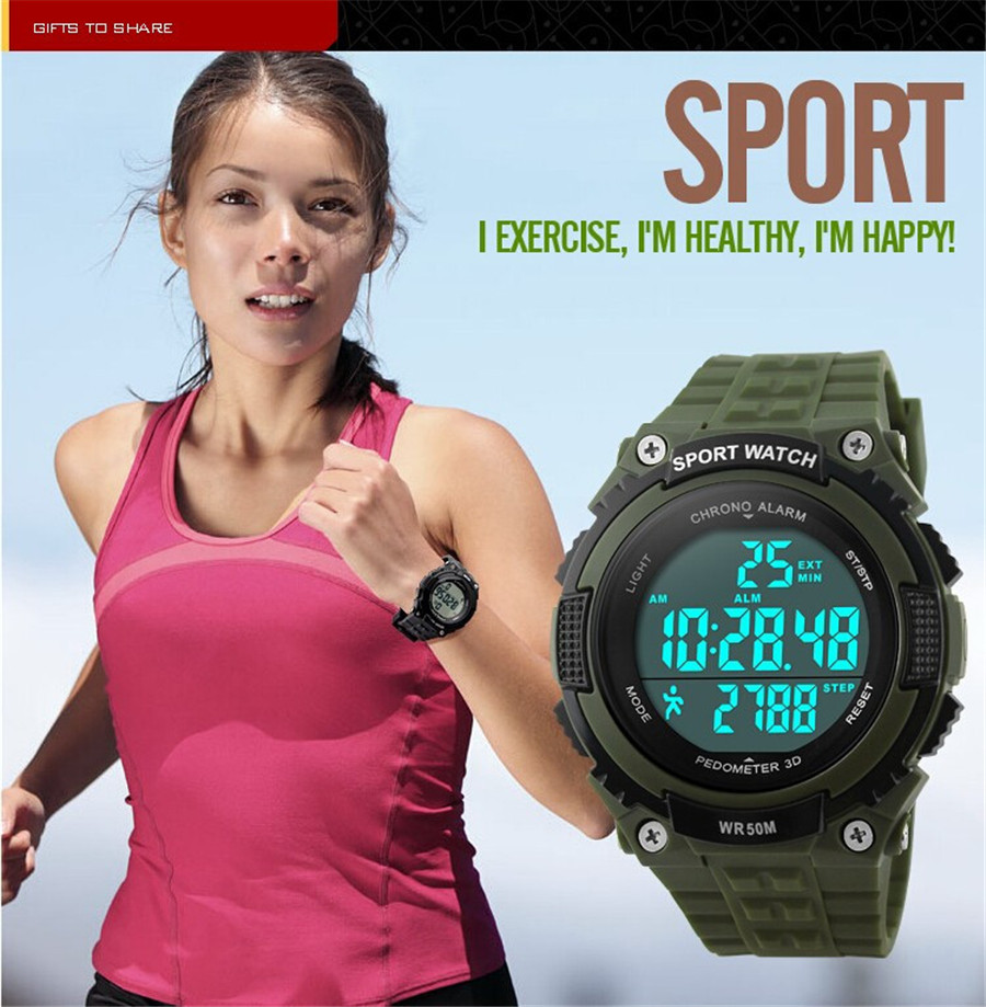 Pedometer LED Digital Watch Sports Fashion Casual Fitness Multifunctional Outdoor Sport Watch Women Relojes Wristwatches Woman