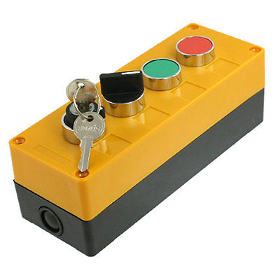 AC 400V 10A 3 Positions Rotary Selector Switch Red Green Cap Push Button Station keylock rotary on off switch green push button station