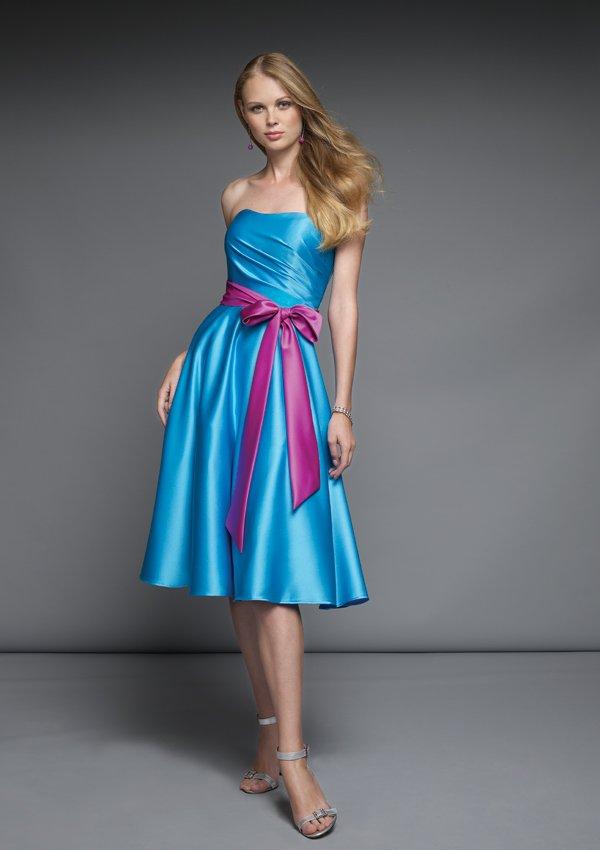 Free Shipping Knee Length Strapless Satin Short Prom Dress