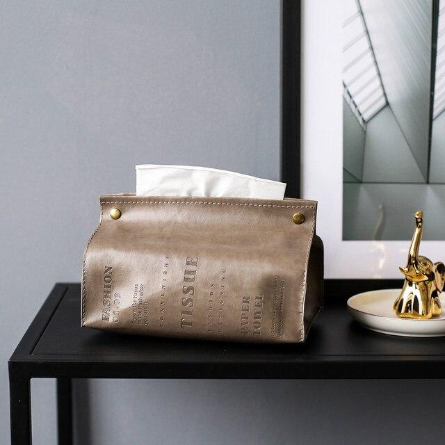 De lujo de cuero PU tejido caja carta diseño de piña plegable servilleta soporte rectángulo casa soporte para papel de cocina caja de almacenamiento