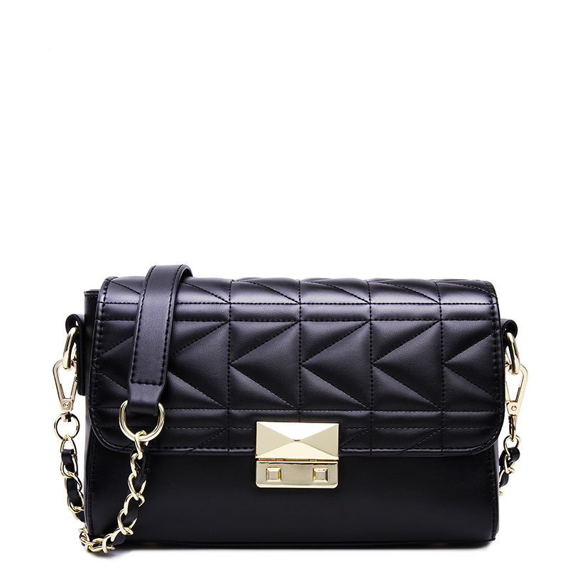 Famous Brand Designer Chain Bag 2016 New Geometric Plaid Shoulder Bag Japan Style Fashion Pink Black
