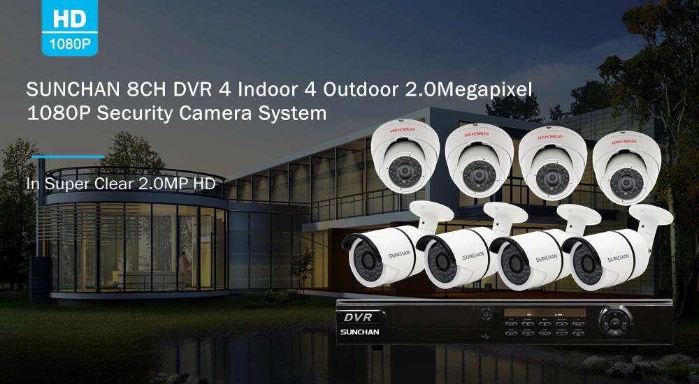 8CH DVR 4 Indoor 4 Outdoor 1080P Security Camera System