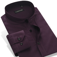 Men's Dark Purple Banded Collar (Mandarin Collar) Dress Shirt Pure Cotton Long Sleeve Slim Fit Solid Thin Formal Tops Shirts