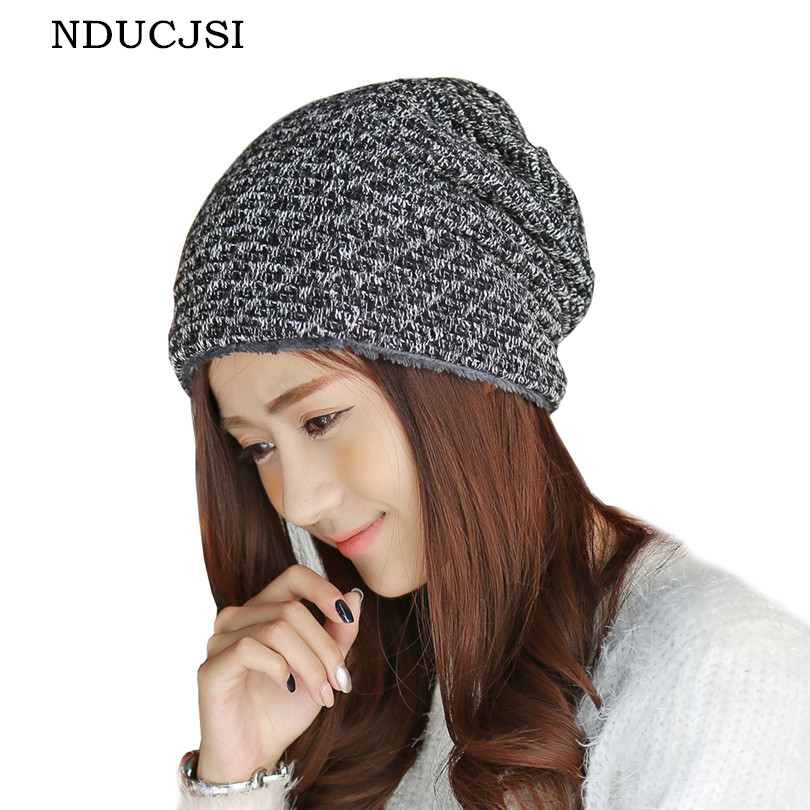 NDUCJSI Brand Winter Thick Beanies Women Baggy Velvet Cap Bonnet Knit Hats Oversized Wool Skullies For Warm Beanie Gorros Caps 2017 new lace beanies hats for women skullies baggy cap autumn winter russia designer skullies