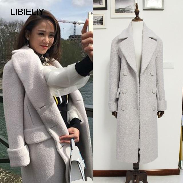 Fashion Fall Winter Women Off White Woolen Simple Classic Oversized Maxi  Long Coat Female Outerwear Manteau Femme Abrigos Mujer b2f6809cc7