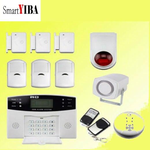 SmartYIBA Home Security Alarmes Fire Smoke Detector Strobe Siren GSM Burglar Alarm System Door Gap Alarm Motion Detection цена и фото