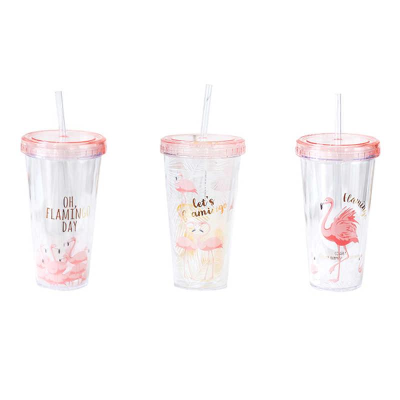 500 мл Фламинго пластиковая дорожная кружка для чая кофе кружка с ремнем tubule с крышкой милый мультфильм питьевой двойной стены для молока сок воды