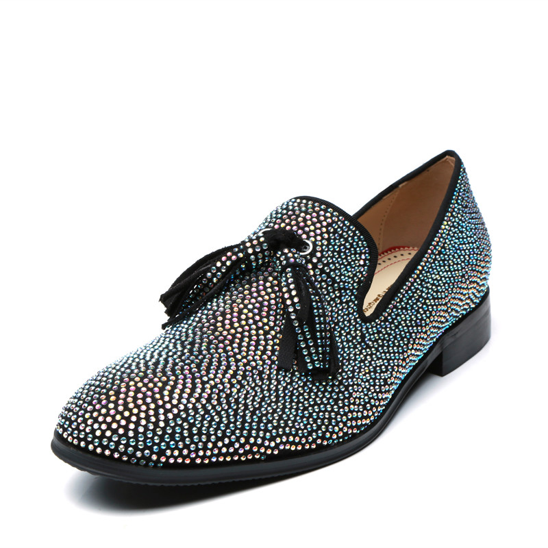 Multicolor Strass Multi Homens De Fringe Dos Loafer Sapatos Para Casamentos Prom Plana Tassel on colorido Cristal 2019 Qianruiti Slip Casuais x0n7xz8