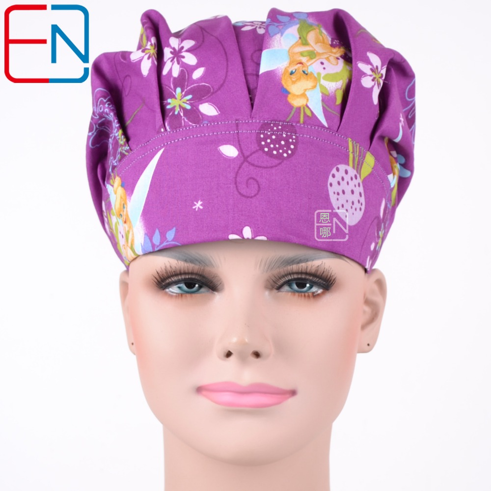 Hennar Hospital Pet Clinic Work Cap Women Doctor Cotton Purple Print Surgical Cap Adjustable Nurse Scrub Hat For Women