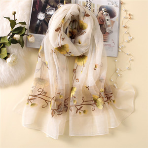 Image 3 - New silk wool scarf women fashion floral embroidery shawl wrap high quality pashmina winter neck scarf bandana face mask hijab