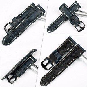 Image 2 - MAIKES Uhr Zubehör Armband Retro Öl Wachs leder Uhr band 20mm 22mm 24mm 26mm Uhr Strap armband Für Panerai MIDO