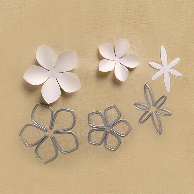 3pcs Beautiful Apple Blossom Stencil Metal Cutting Die For Diy Craft