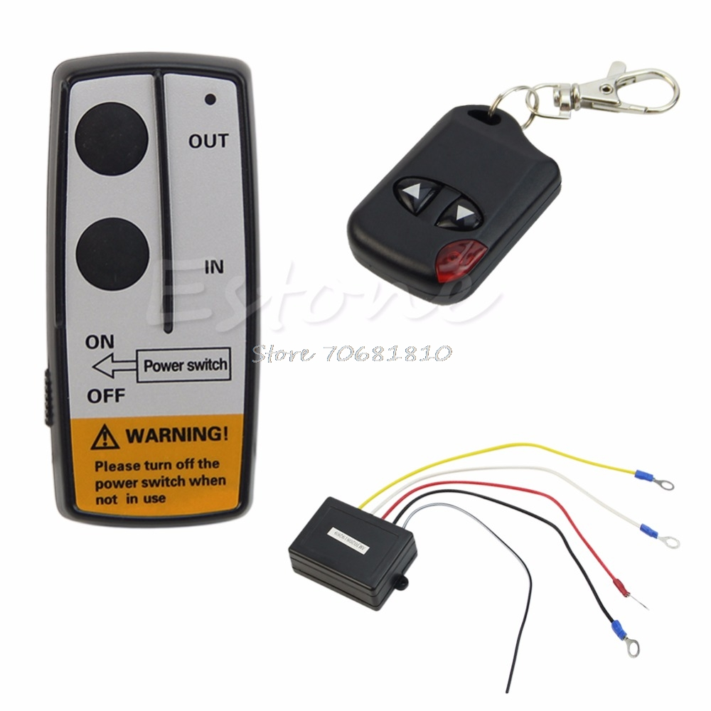 24V 50ft Winch Wireless Remote Control Set for Truck Jeep ATV Warn Ramsey Drop Shipping