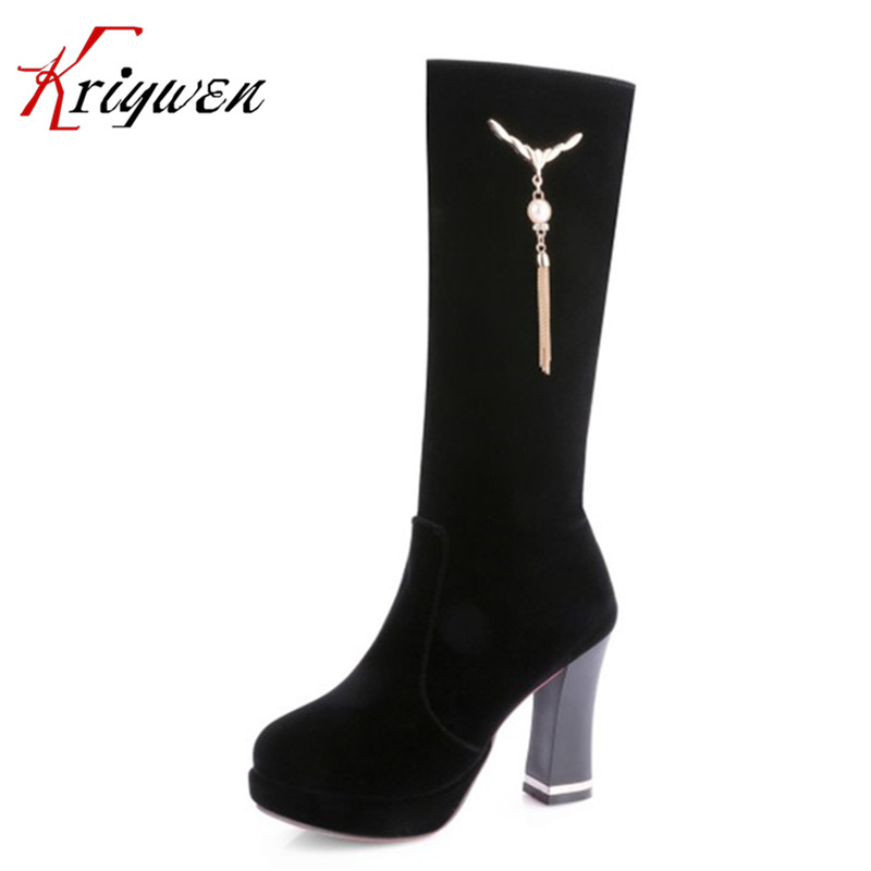 ФОТО 2017 Spring autumn sexy female motorcycle boots for party winter thick high heels zipper tassel red party shoes western boots