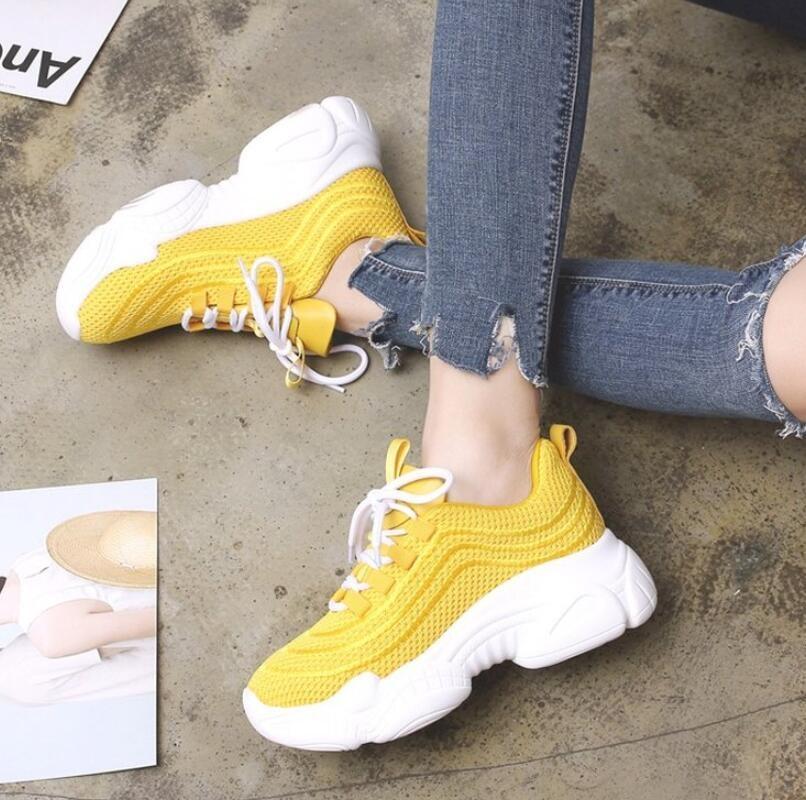 LZJ 2019 Весенняя модная женская сетчатая повседневная обувь дышащие женские кроссовки на платформе женская белая обувь инструкторов Femme T568