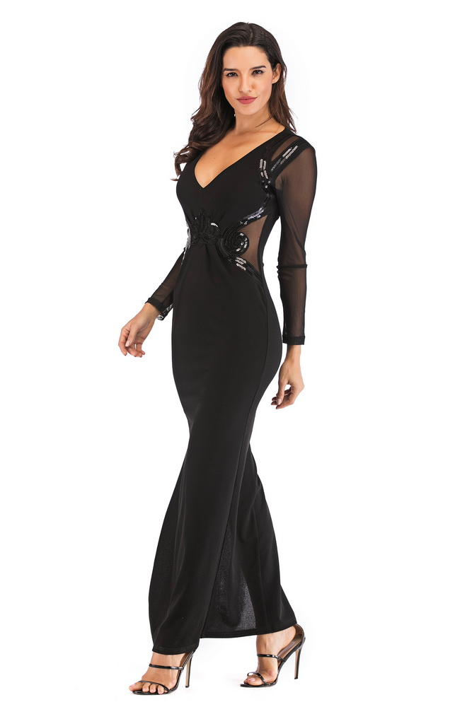 JIZHENGHOUSE Newly Sexy Women V-Neck Long Sleeve Mesh Bodycon Long Party Dress ELegant Maxi Dress Vestidos