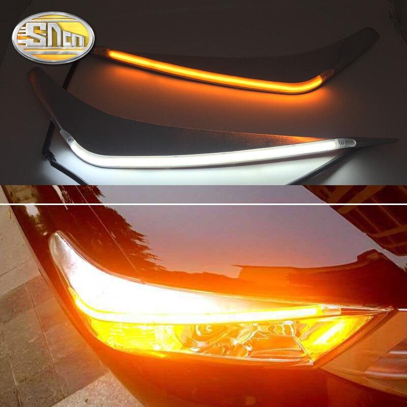 SNCN 2PCS LED Daytime Running Light Yellow Turn Signal Relay Car Headlight Eyebrow Decoration For Toyota Highlander 2012 2014