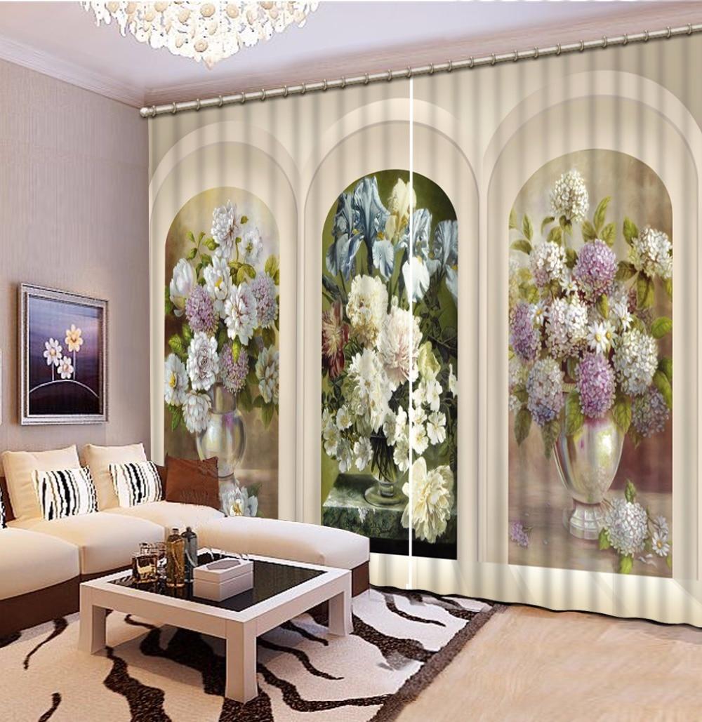 3D Curtains bouquet design Sheer Curtains For Living Room Bedroom European Roman Curtains Custom Window Drapes