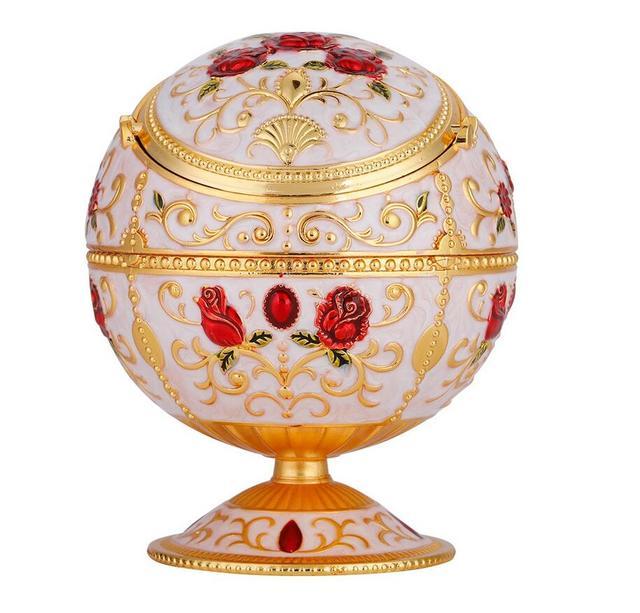 Portable Mini Ashtray Metal Round Ball Stamped Pattern Gift Decoration Alinory Decoration 1