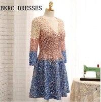 Ручной работы из бисера Homecoming платья с одежда с длинным рукавом Кристалл Элегантный Vestido De Formatura Курто