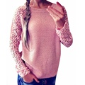 2017 New Fashion Women Spring Autumn Sweaters Long Sleeve O-Neck Lace Crochet Patchwork Casual Pullover Knitted Sweater Tops