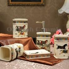 OYSY Bathroom Sets Ivory Porcelain God Horse Design