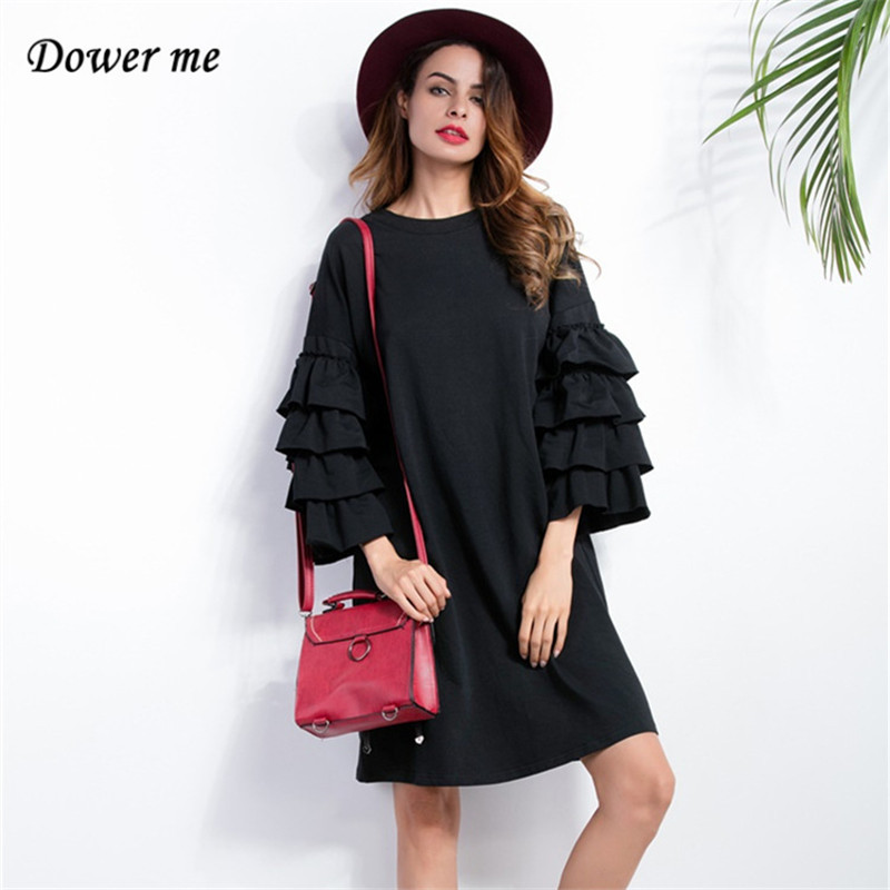 Для женщин сладкий бабочка рукав платье Сарафан черный дамы Платья для женщин женские Повседневное О-образным вырезом свободные платья LQ006