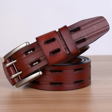 High Quality Double Pin Buckle Genuine Leather Belt For Men