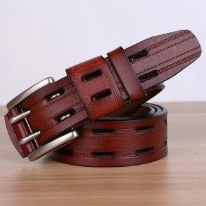 Image 3 - Ceintures en cuir véritable pour hommes, sangle de marque avec boucle ardillon, fantaisie, Vintage, Jeans de Cowboy, 100%