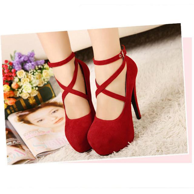 Hot Fashion New high-heeled shoes woman pumps wedding party shoes platform fashion women shoes high heels 11cm suede black 8Size