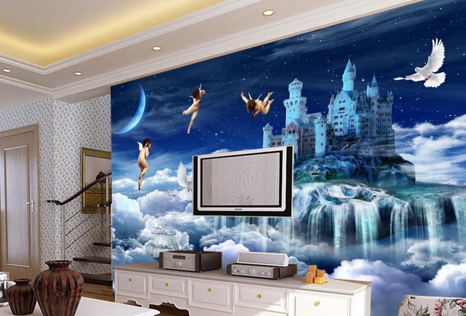 Online get cheap angel mural alibaba group for Cheap living room wallpaper