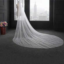 Elegant Wedding Veil 3 Meters Long Soft Bridal Veils With Comb Double-layer Ivory White Color For Wedding Party Bridal(China)