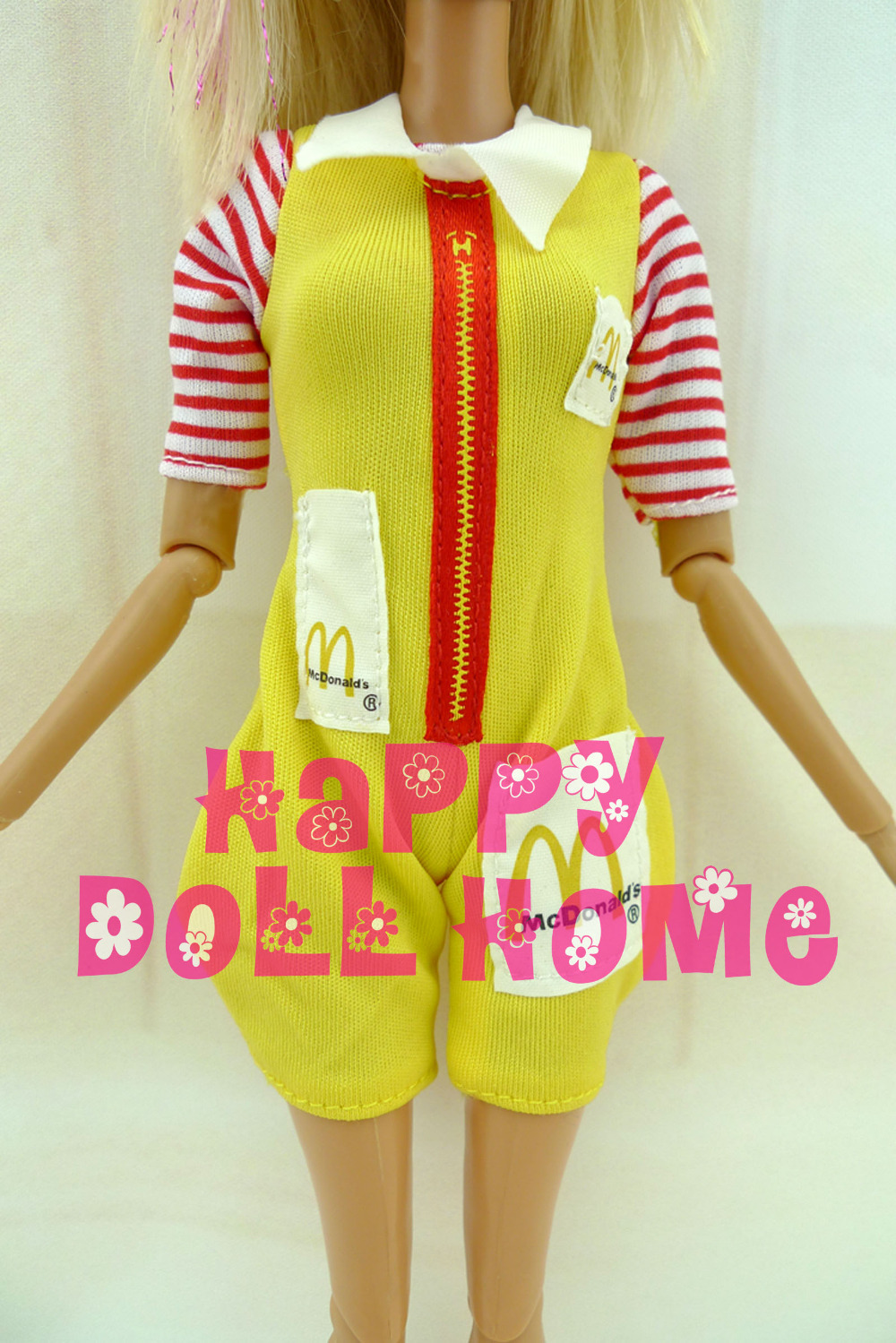 Restricted Cute Feminine Jumpsuit Mcdonald Uniform Yellow Outfit Waitress Garments For Barbie Doll 12″ Faux Play Children Favor Toy