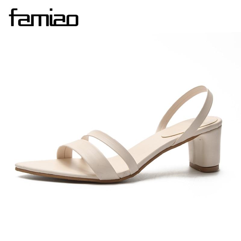 FAMIAO 2018 Summer Women Sandals Open Toe Flip Flops Womens Sandles Thick Heel Women Shoes 2018 women pumps Gladiator Shoes