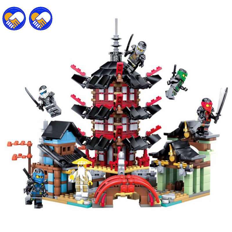 737pcs Compatible Legoinglys Ninja Temple Of Airjitzu Version  Building Blocks Toy Kit DIY Educational Children Birthday GIfts