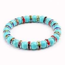 Высококачественные браслеты с подвесками из натурального зернистого камня для женщин и мужчин, ювелирные изделия, молитвенный браслет Будды с бусинами в виде чакр