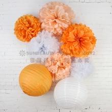 8pcs/set Orange White Paper Decoration  Crafts Lantern Wedding Birthday Party Flower Cozy Decor
