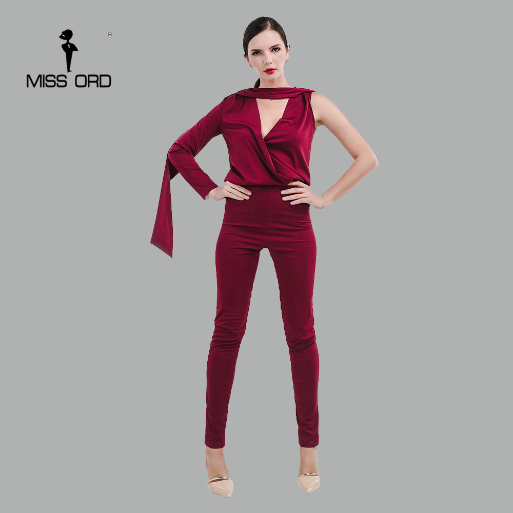 free shIpping MISSORD 2018  sexy Deep-V one long sleeve  jumpsuit  FT4652