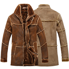 European Style Male Fashion Thick Warm Men's Winter Leather Jacket Brand Suede Jacket Mens Long Faux Fur Coat Brown Khaki Color