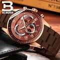 Спортивные резиновые часы для мужчин японский кварцевый хронограф часы работоспособные 3 глаза многофункциональный календарь наручные ча...