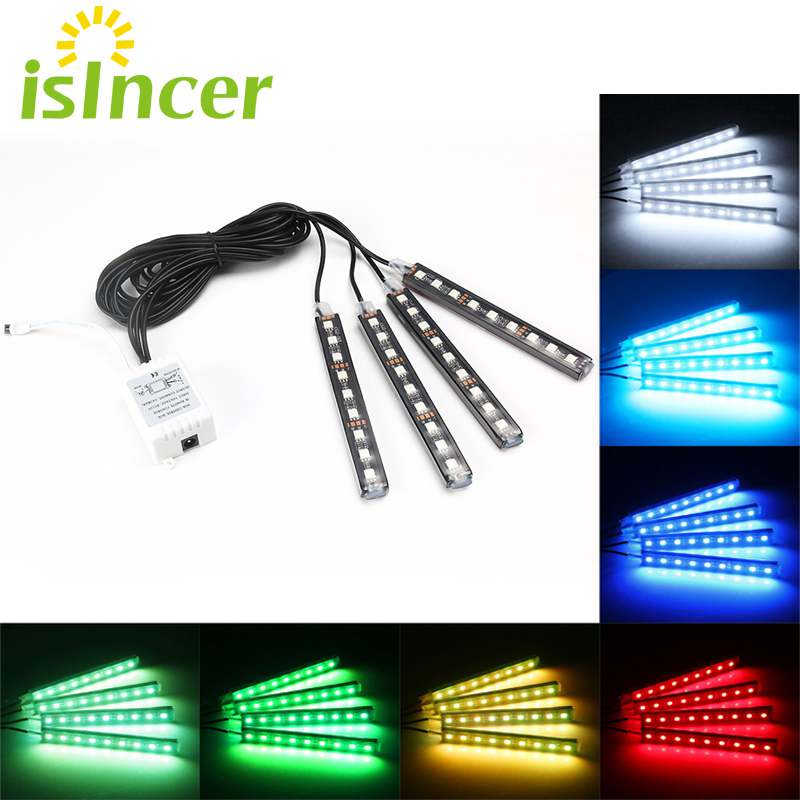 Car RGB LED Strip 4*9pcs SMD 5050 10W Car Interior Decorative Atmosphere Strip Auto RGB Pathway Floor Light Remote Control 12V 4 in 1 12v auto car atmosphere light interior floor dash decoration light foot led lamp bar 9 leds with cigarette lighter