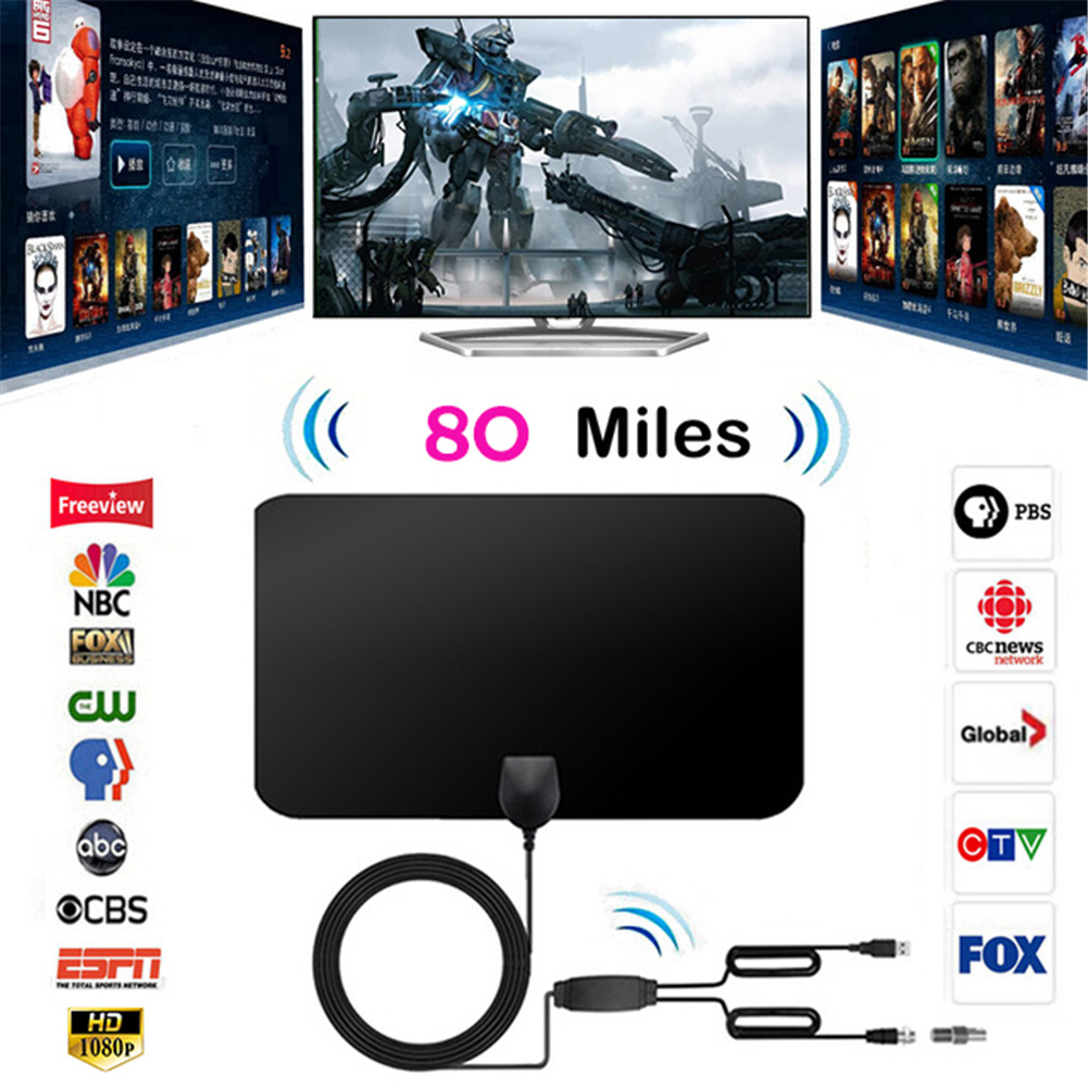 1080P 80 Miles Digital HD TV Antenna Signal Amplifier Booster Amplified Receiver