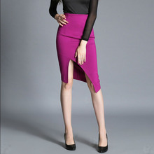 Women Sexy plus size Straight skirts 2017 Summer Fashion knitting fabrics Open fork Hight Waist skirt Skinny Office skirt Ladies