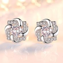 Silver Color Zircon Crystal Corner Stud Earrings For Women New Brincos Flower  Four-Leaf Clover Earrings Fashion Jewelry hot sell high quality four leaf clover stud earrings classic jewelry for women brincos shell two flowers stud earrings wholesale