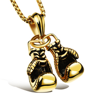 2017 New Fashion Sporty Boxing Gloves Male Jewelry Pendant Necklace Personality Stainless Steel Men Jewelry Accessories